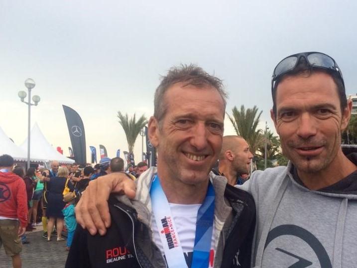 Pierre en compagnie de son ami de longue date, Eric Millard, triathlète au combien talentueux